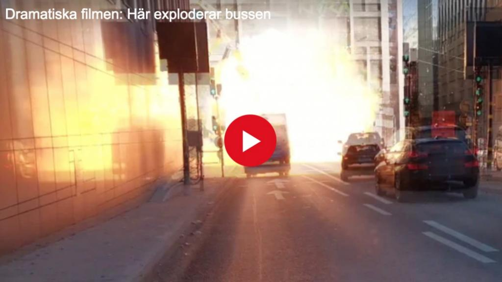 Screen shot of the propane bus explosion in central Stockholm. Photo by Expressen.se