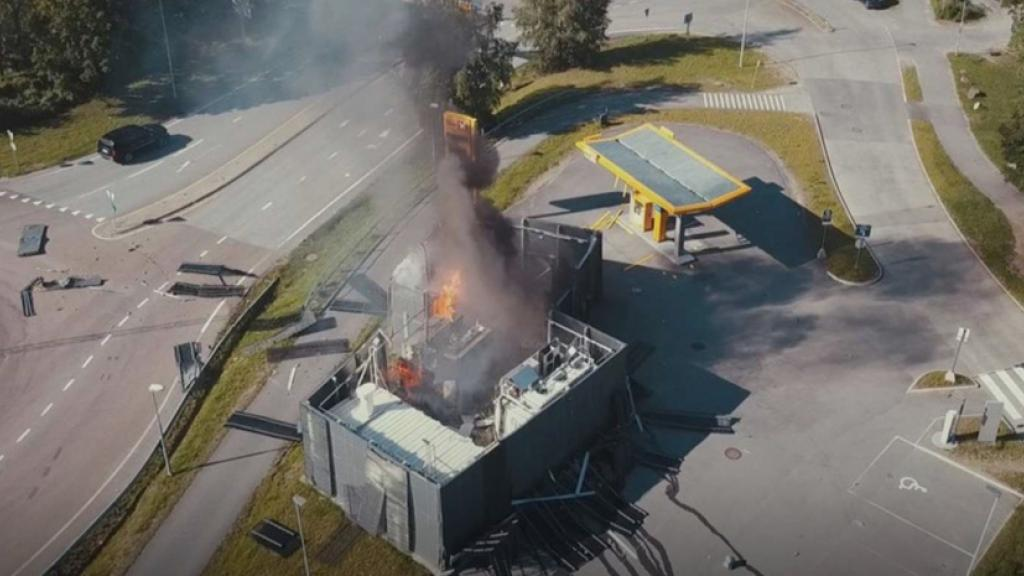 The exploded hydrogen refulling station in Sandvika, Norway.