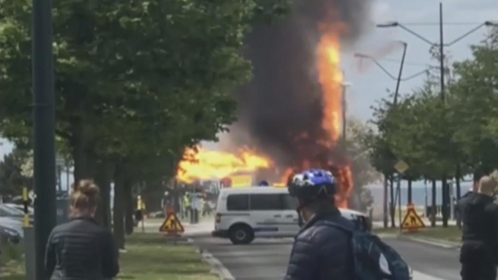 Bio gas bus fire in Malmö, Sweden, on May 28, 2019