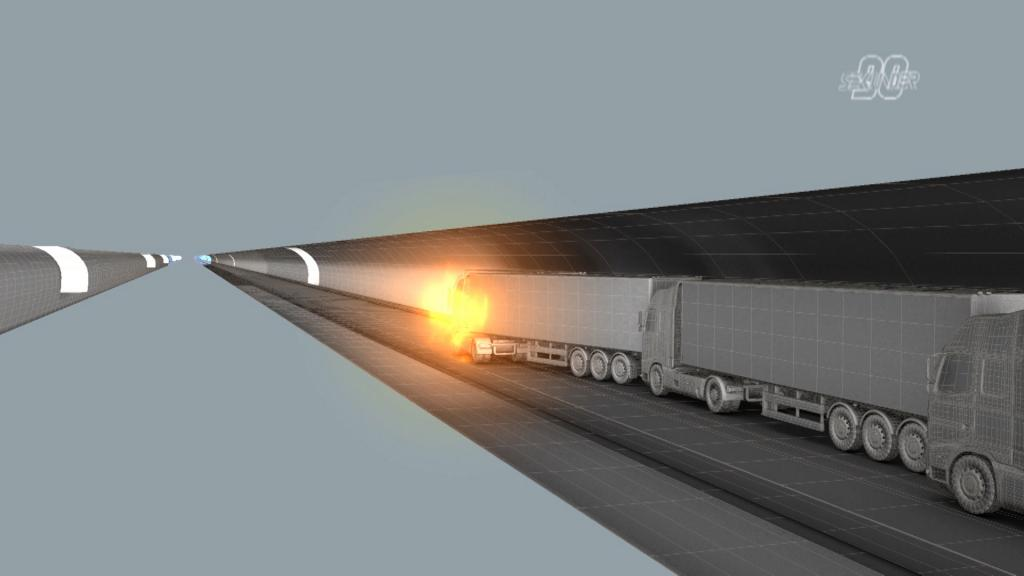 A graphic of a heavy transport truck tunnel fire. Graphic by MSB / Mikael Karlsson