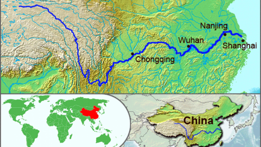 Map of the effected river area in China. Illustration by Wikipedia