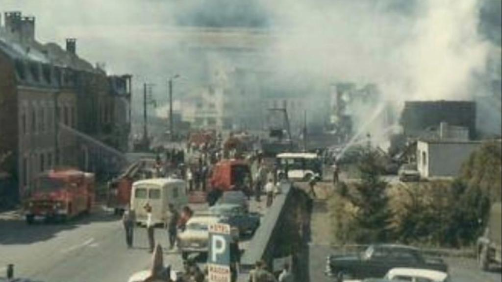 The 1967 Martelange truck explosion. Historical photo