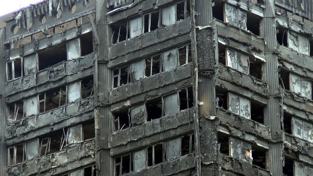 The upper floors of Grenfell Tower after the fire. Photo by Wikipedia