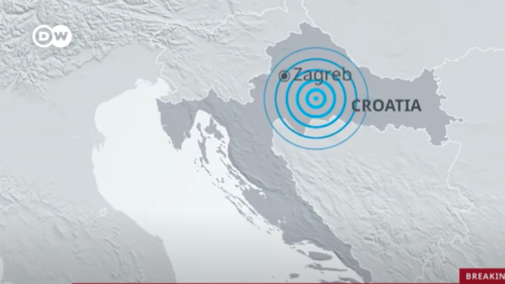 The area in Croatia affected by the earthquake. Screenshot from the DW News video featured in the article.